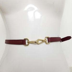 Michael Kors Burgundy Leather Double Buckle Belt